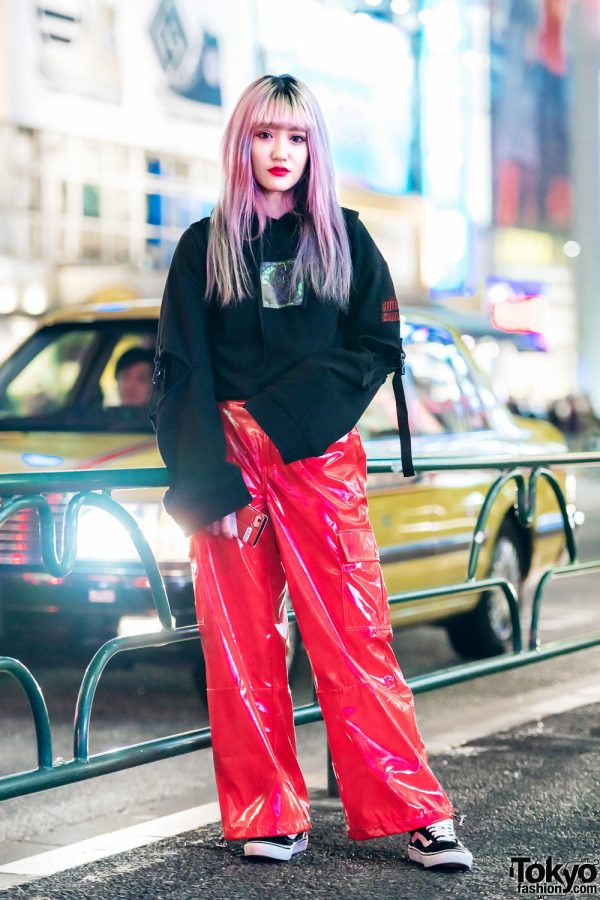 Cutout Hoodie by Japanese Streetwear Brand MYOB NYC & 7% More Pink Vinyl Pants in Harajuku