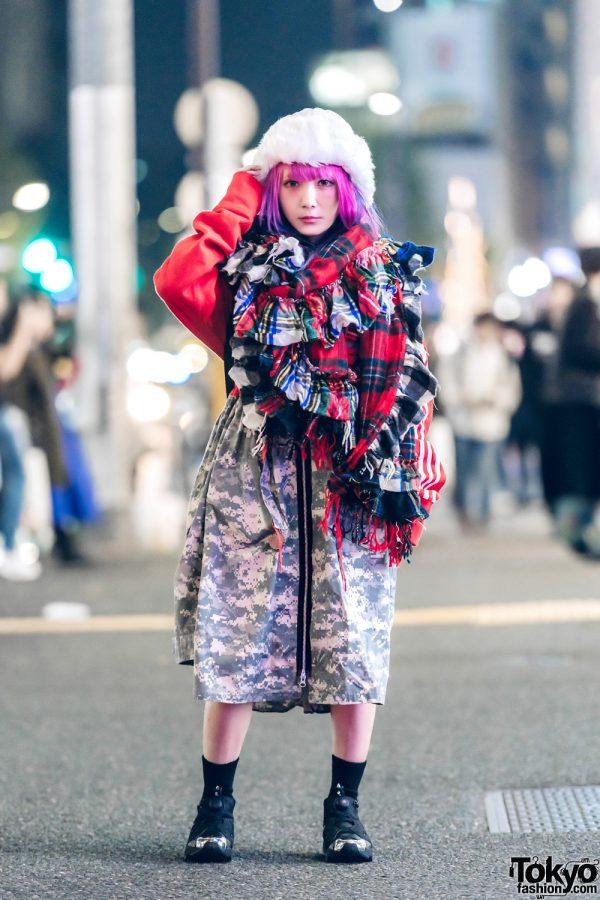 Pink-Haired Harajuku Girl in Mixed Prints w/ Nincompoop Capacity & Moschino