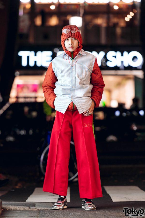 Hooded Japanese Fashion Student in Harajuku w/ Remake Sleeveless Shirt, Track Pants & Silver Shoes