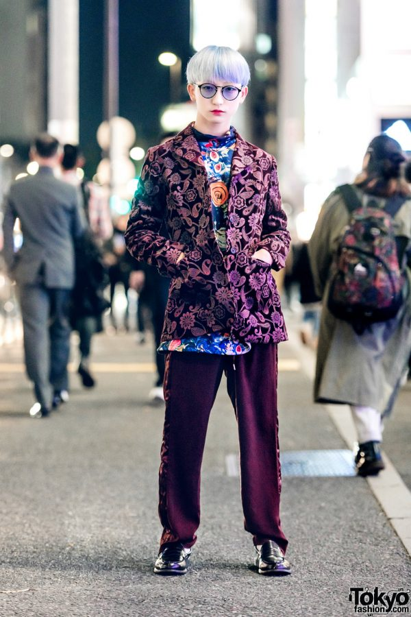 P-Chan of Tempura Kidz in Mixed Prints Vintage Harajuku Street Style & Tinted Glasses