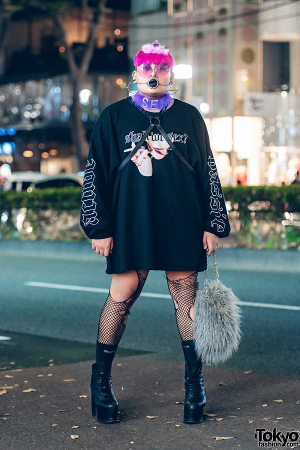Avant-Garde Street Fashion w/ Pink Hair, Facial Piercings, Berserk Top, M.Y.O.B. Bag & Syro Boots