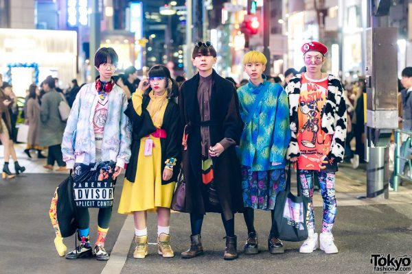 Stylish Harajuku Quintet in Moschino, UNIF, Fendi, Dario, W.I.A., Damage, King Family, Kappa & Kinji