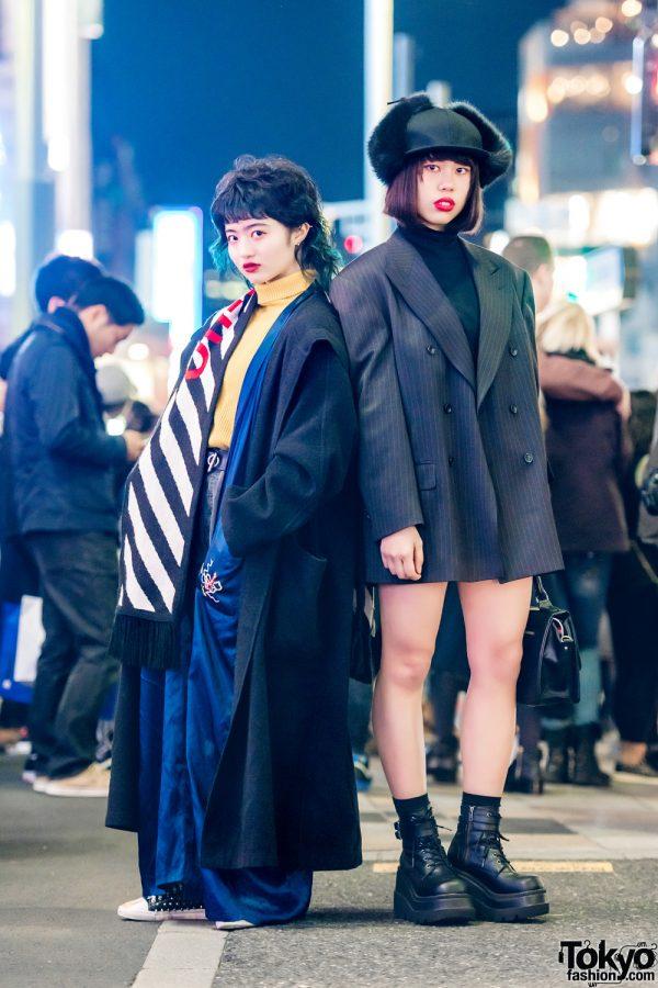 Harajuku Girls in Edgy Street Styles w/ Off-White, Kaka Vaka, Demonia, Pameo Pose, Armani & Benetton