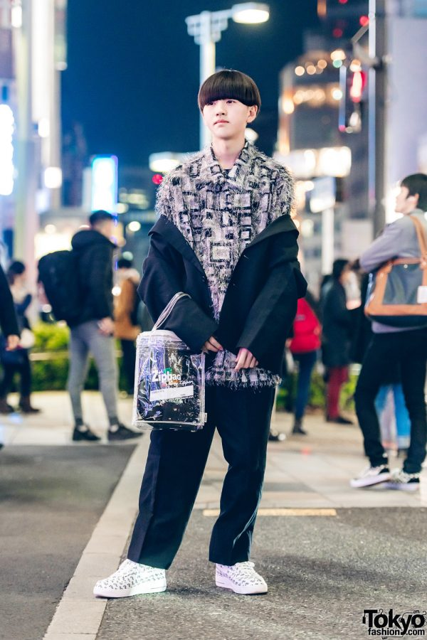 Harajuku Guy in Quirky Street Fashion w/ Comme des Garcons Ensemble, Resale Fringe Top, Nike Sneakers & Ziploc Tote Bag