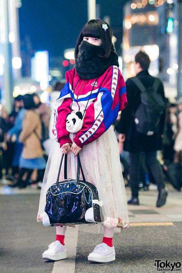 Harajuku Girl w/ Plush Panda Pouch, Sheer Flower-Filled Skirt, Kappa Jacket & New Balance Bag