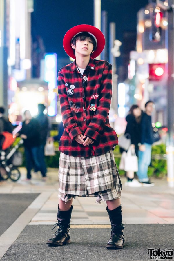 Red-and-Black Street Style w/ Red Hat, Plaid Outfit & Undercover Black Boots