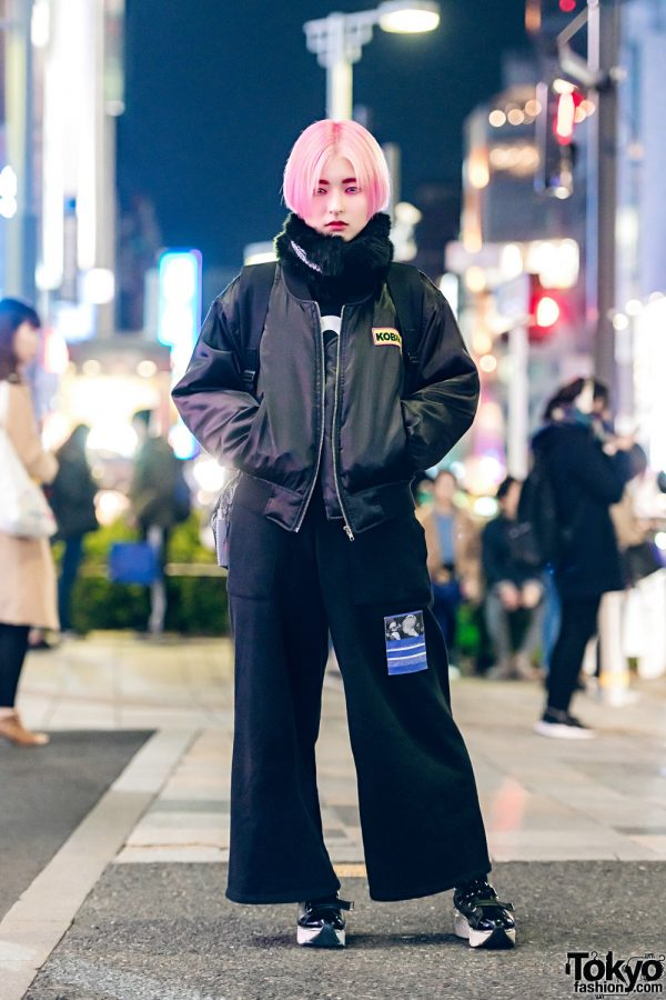 Pink-Haired 6%DOKIDOKI Staffer in All-Black Look w/ Kobinai, Boy London, M.Y.O.B., Chance Chance & Jeffrey Campbell