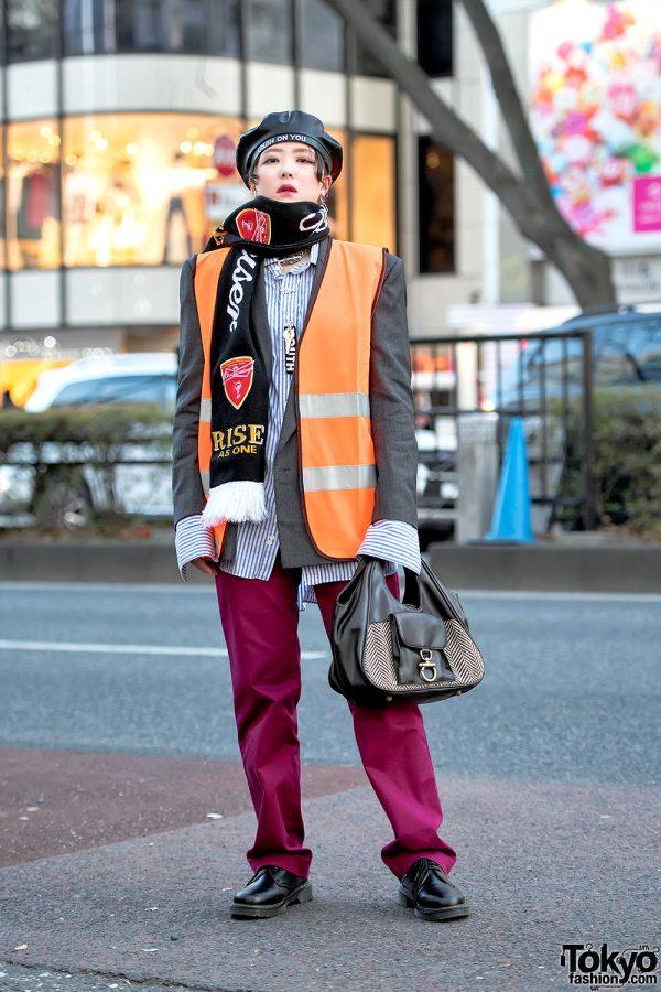 Harajuku Girl Streetwear Style w/ Orange Safety Vest, Funktique Tokyo & Oh Pearl