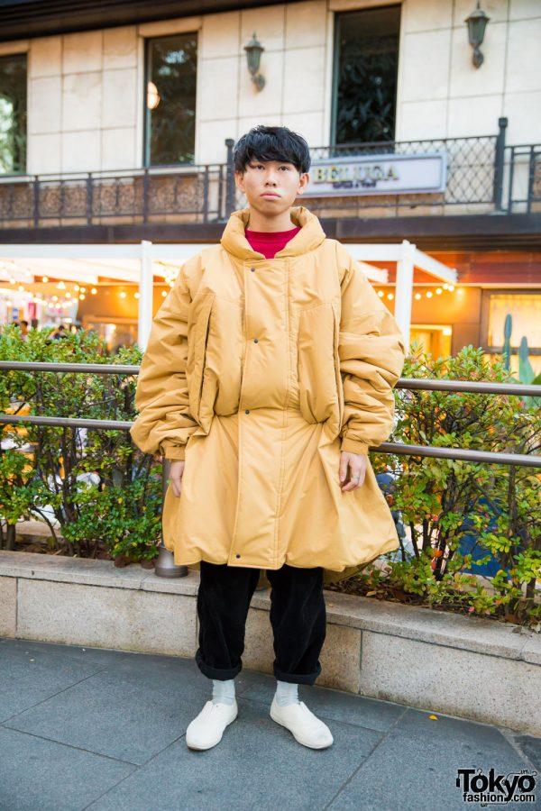 Harajuku Guy in Sasquatch Fabrix Oversized Puffer Jacket, Bukht Pants & White Sneakers