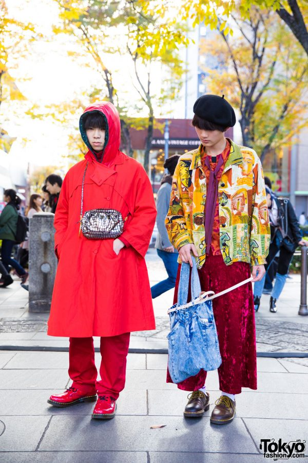 Harajuku Guys in All Red & Mixed Prints Fashion w/ Yves Saint Laurent, Dr. Martens, Levi's 517 & Hender Scheme