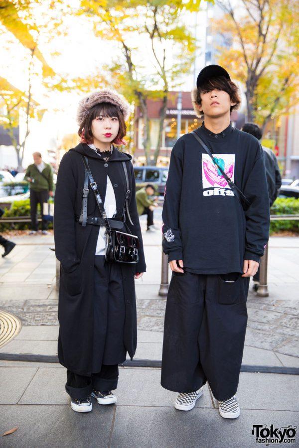Harajuku Duo in Black & White Street Fashion w/ Agnes B, Hare, Converse, Earth & Vans