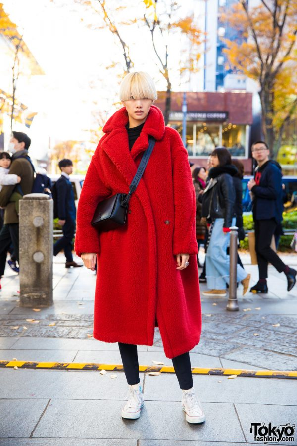 Blonde-Haired Harajuku Girl In Fuzzy Maxi Coat w/ Alyx Pants, Guernika Sneakers & Chrome Hearts Jewelry
