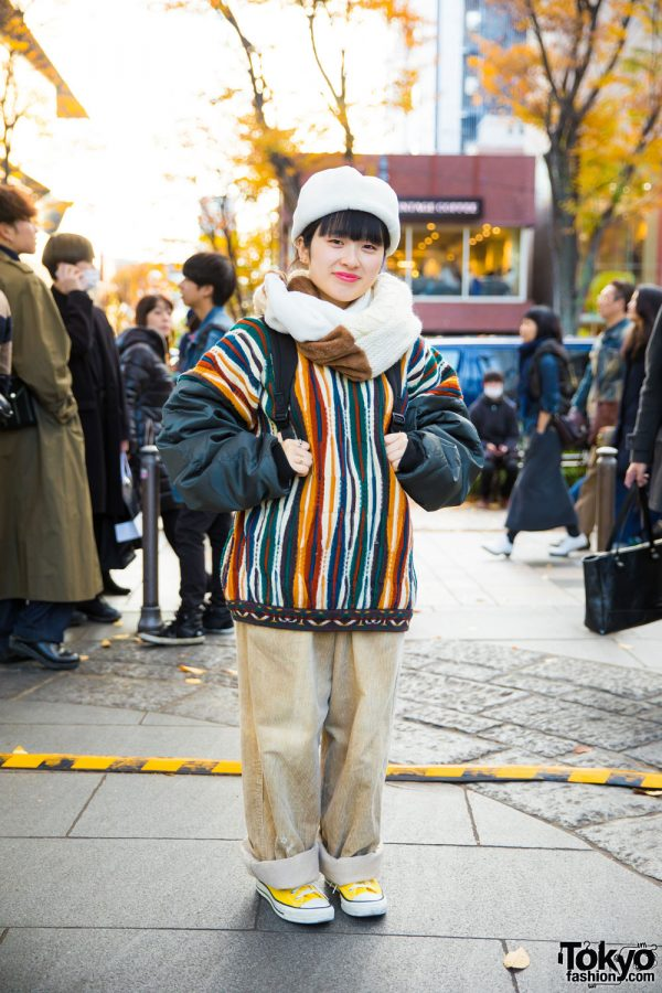 Layered Winter Fashion in Harajuku w/ Kaka Vaka, Amatunal, Converse & Independent Backpack