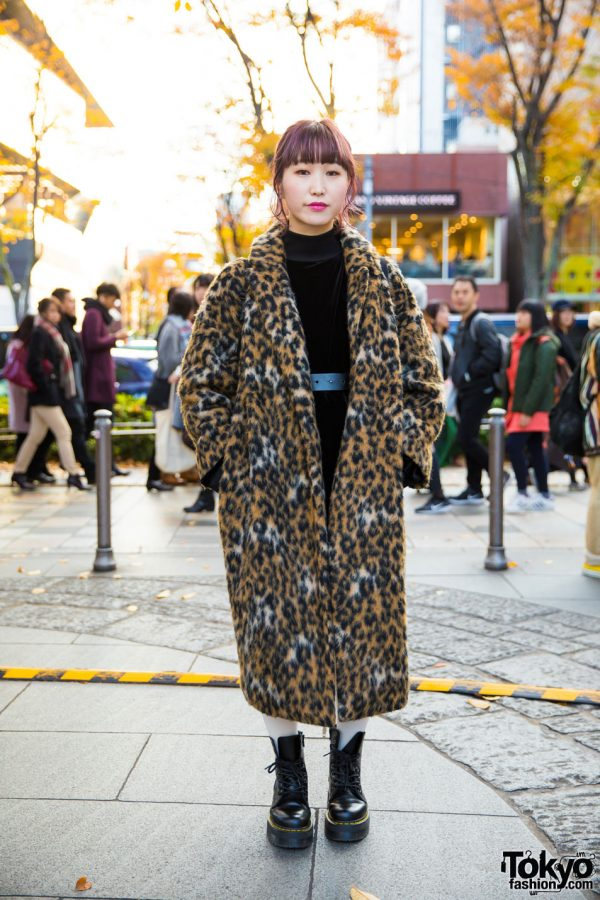 Purple-Haired Harajuku Girl in Leopard Print Maxi Coat Fashion w/ Jeanasis, Dr. Martens, E.M., Jouetie & Opening Ceremony