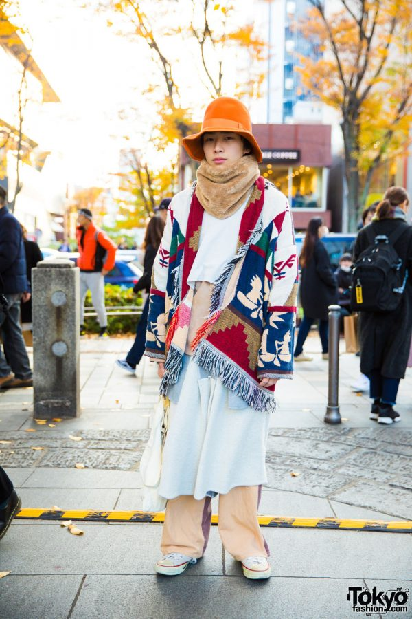 Harajuku Guy in Eclectic Street Fashion w/ Sneeuw, Ganryu, Converse & Comme Des Garcons