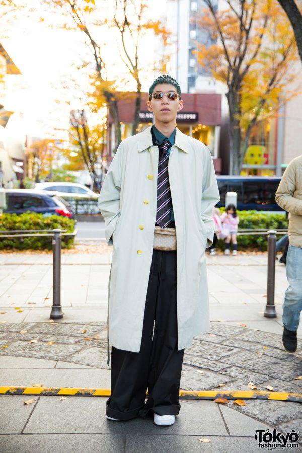Harajuku Hair Stylist in Long Coat Street Fashion w/ Burberry, John Lawrence Sullivan, Nike Air Force One & Celine