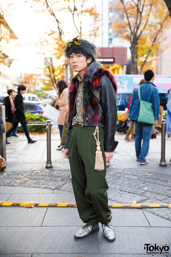 Eclectic Street Style w/ Fuzzy Hat, Animal-Printed Shirt, Fur-Trimmed Leather Jacket & Y's Pants