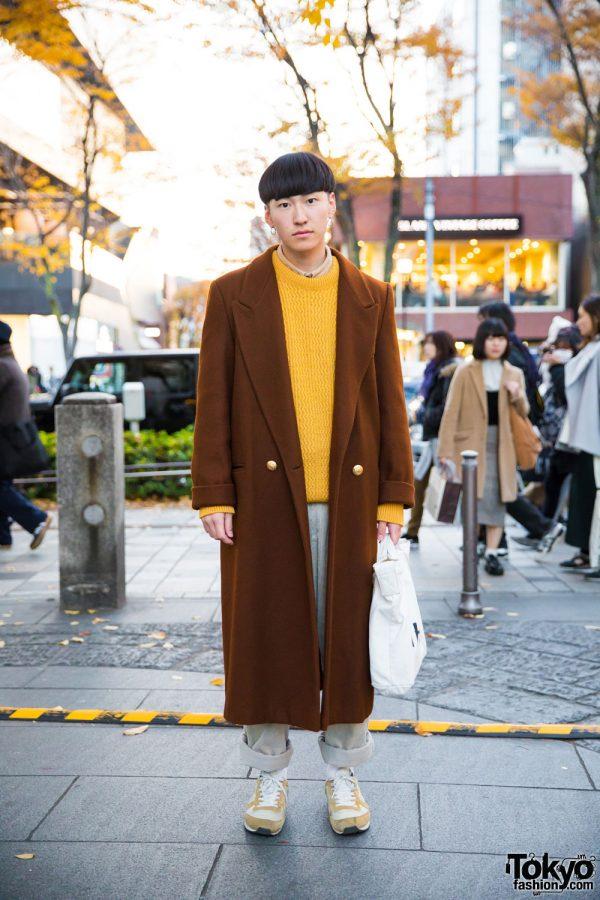 Tokyo Winter Street Fashion w/ Long Coat, Knit Sweater, MHL. Bag & Nike Sneakers
