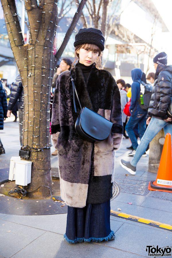 Faux Fur Harajuku Winter Fashion w/ Furry Hat, Maxi Coat, Wide Denim & Black Leather Bag