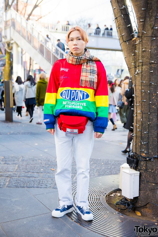 Orange-Haired Harajuku Guy w/ Resale Rainbow Sweater, Burberry Scarf & RRR Vintage Accessories