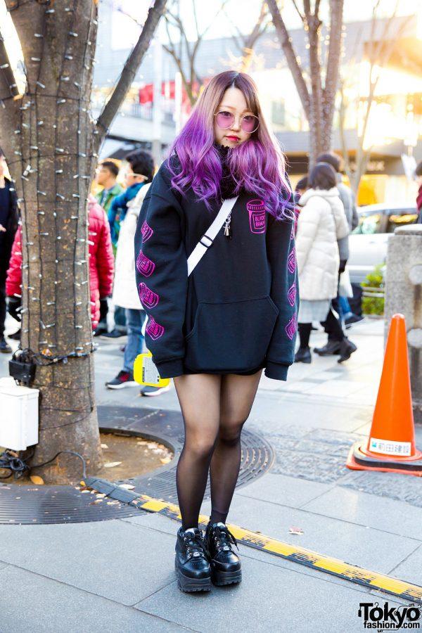 Purple-Haired Harajuku Girl in Black Brain Hoodie & Yosuke Platform Sneakers