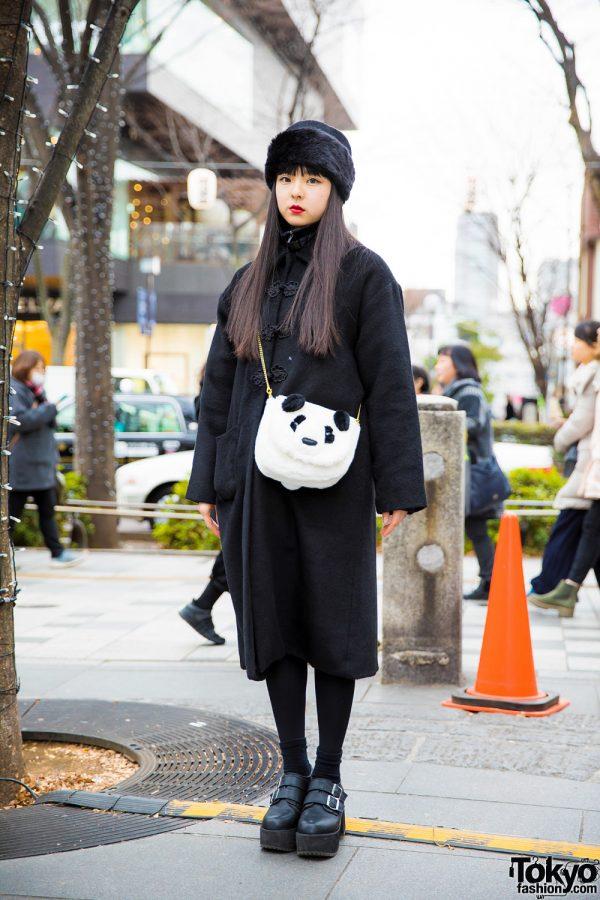 All Black Winter Fashion w/ Merry Jenny Coat, Spinns Platform Buckle Shoes & Spinns Panda Sling Bag