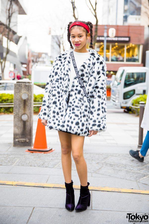 Harajuku Girl in Faux Fur Dalmatian Coat, Twin Braids, WEGO Crossbody Bag & Purple Heels