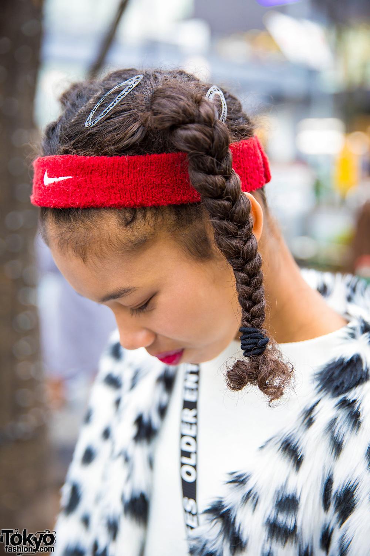 Harajuku Girl In Faux Fur Dalmatian Coat Twin Braids