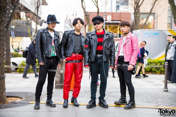 Harajuku Guys in Leather Jackets & Skinny Pants Streetwear w/ Dr. Martens & 666