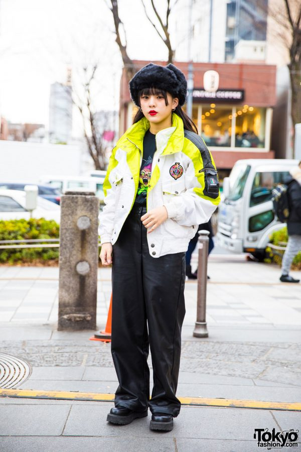 Harajuku Girl in Winter Style w/ Resale Jacket, Oh Pearl Leather Pants & Bubbles Shoes