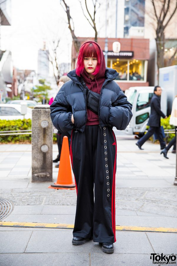 Pink-Haired Harajuku Girl in Black-and-Red Winter Street Style w/ Sly, Oh Pearl, Michiko London & Bubbles