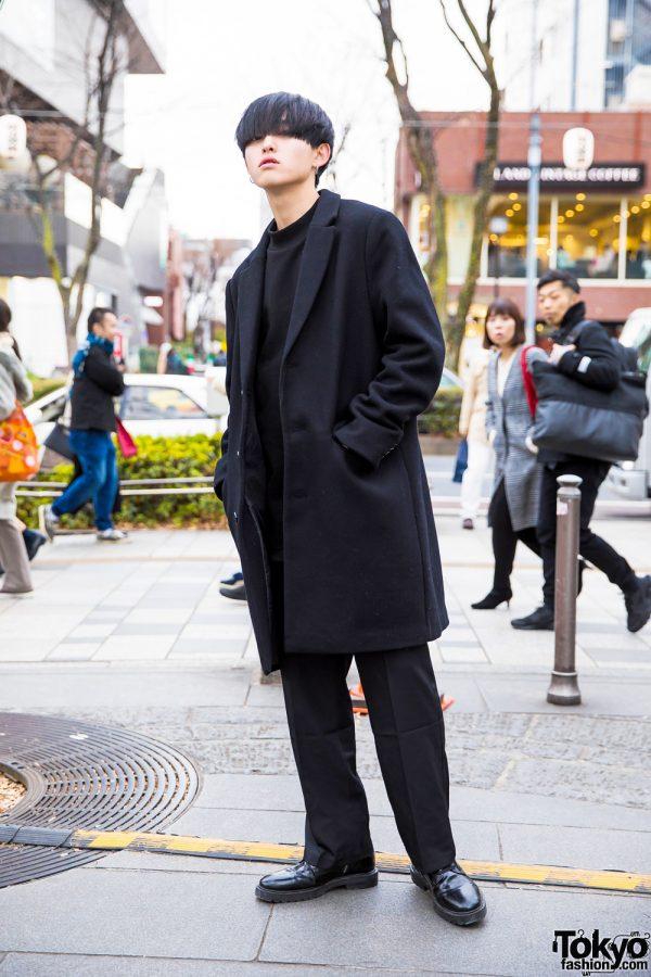 Minimalist All-Black Harajuku Street Fashion w/ H&M, Prologue-G, Zara & 2-PK