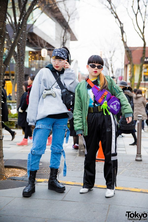 Harajuku Girls in Winter Street Fashion w/ Adidas, Open the Door, Tough, Daiso, Sevens, GU, Kappa, Pameo Pose & MYOB