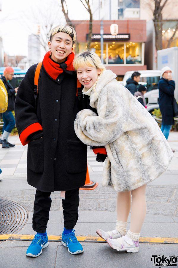 Happy Harajuku Duo in Winter Street Styles w/ Faux Fur Coat, The Virgin Mary Sweater & Tabi Sneakers