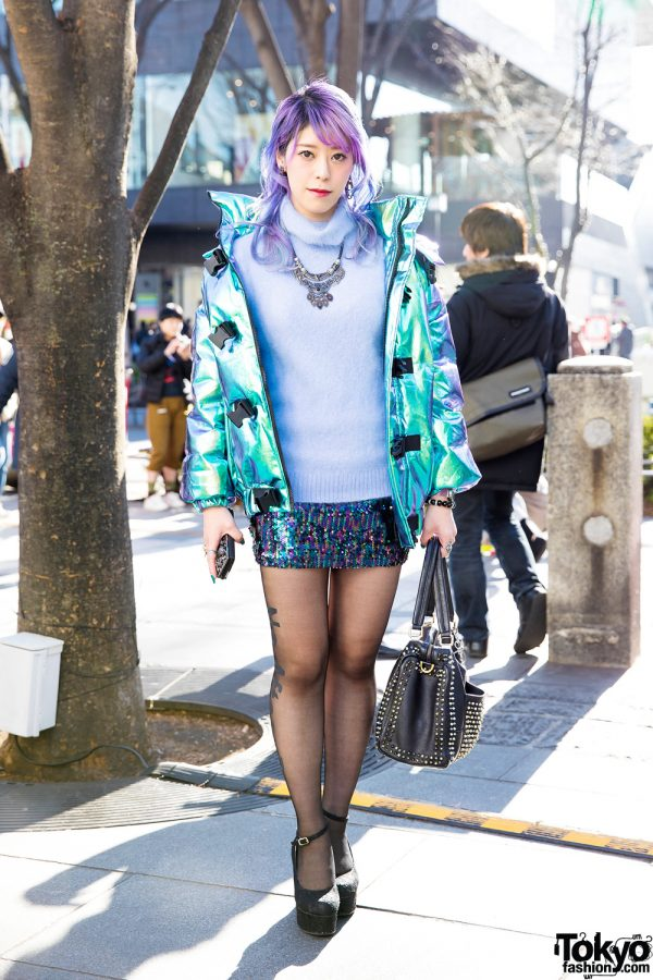 Purple-Haired Japanese Talento w/ Iridescent Jacket, Sequined Skirt, Floral Lace Pumps & Studded Leather Bag