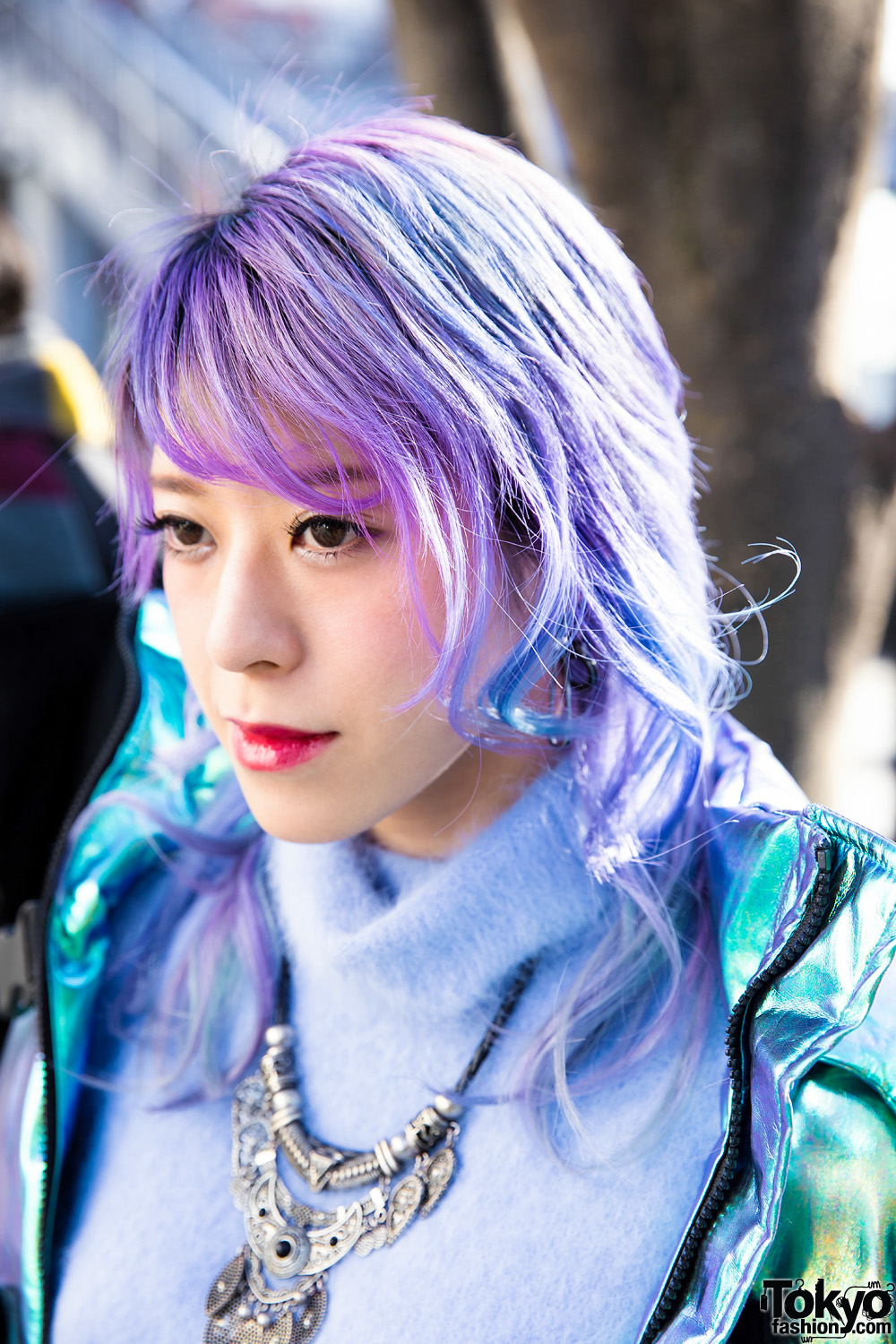 Purple Haired Japanese Talento W Iridescent Jacket