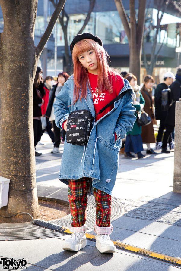 Karin of Tempura Kidz in Funky Harajuku Street Style w/ Aymmy in the Batty Girls, Supreme & Tokyo Bopper