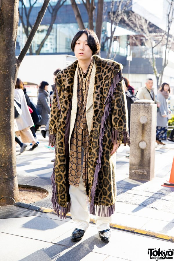 Harajuku Guy in Luxurious Street Style w/ Vintage Layers & Mixed Prints