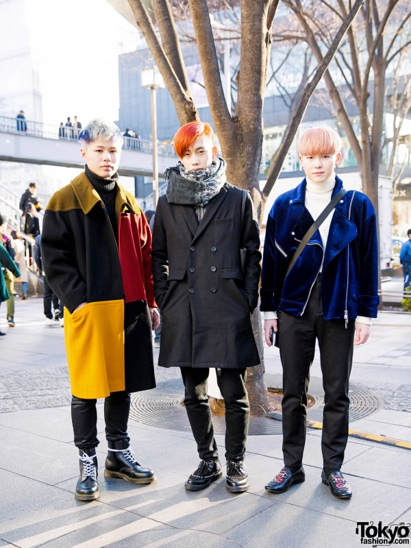 Harajuku Guys' Colorful Hairstyles & Winter Street Fashion w/ Gucci, Zara & Dr. Martens