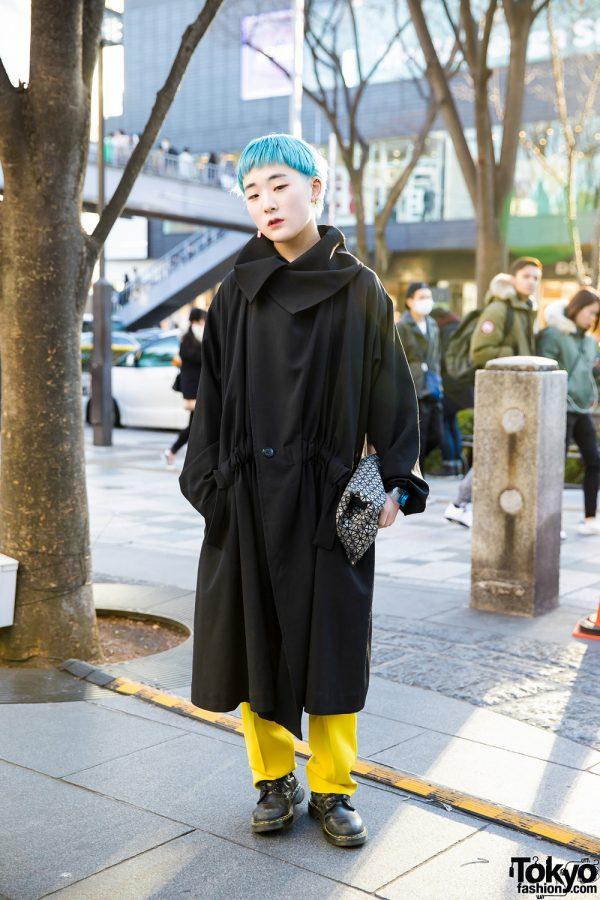 Aqua-Haired Harajuku Girl in Minimalist Fashion w/ Yohji Yamamoto, Issey Miyake & Dr. Martens