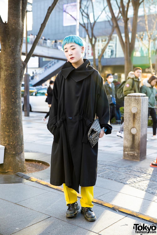 Aqua Haired Harajuku Girl In Minimalist Fashion W Yohji Yamamoto Issey Miyake Dr Martens