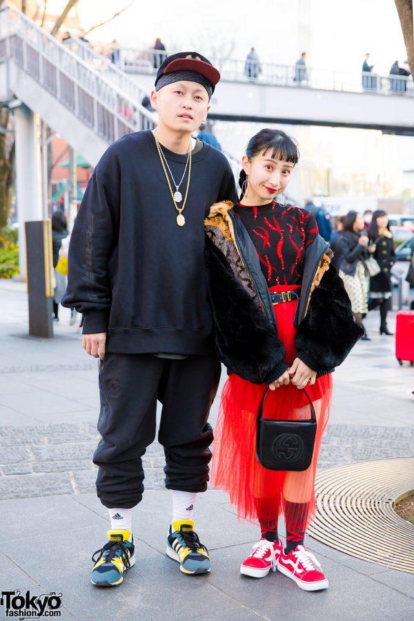 Harajuku Couple in Black & Red Streetwear Styles w/ Yeezy Season 5, Adidas, Vans, H&M, Gucci, A Bathing Ape & Vetements