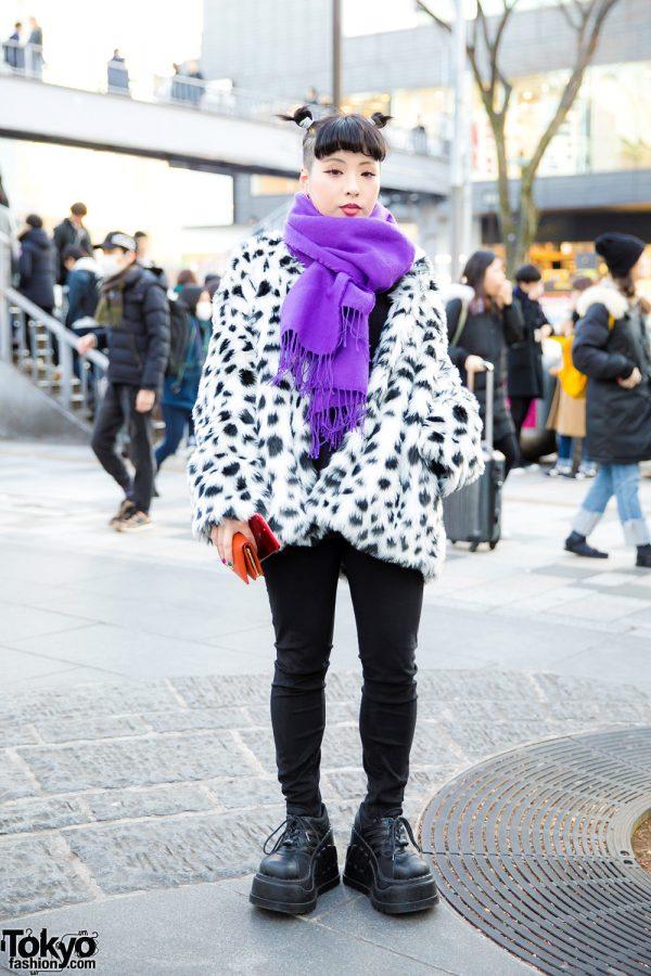 Harajuku Girl w/ Shaved Hairstyle In Dalmatian Print Coat & Demonia Platforms