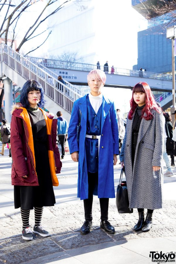 Harajuku Trio in Colorful Hair & Winter Coat Fashion w/ Ralph Lauren, Ray Cassin, Coach, Zara & Daniel Wellington