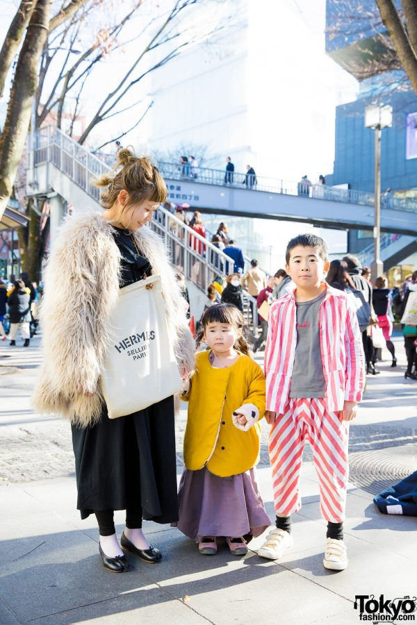 Stylish Family in Beauty & Youth Faux Fur Coat, Maison Margiela, Lilac Dress & Striped Suit