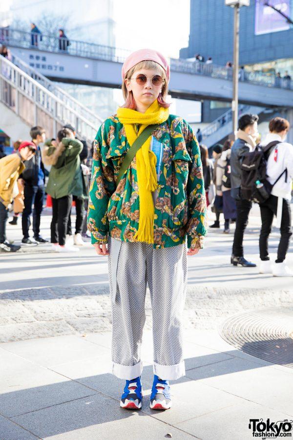 Harajuku Girl in Mixed Prints Fashion w/ Vintage Floral Print Jacket, Resale Adidas, Reebok Sneakers & Kangol Beret