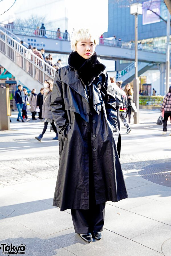 TONI&GUY Tokyo Hair Stylist in All-Black Winter Street Fashion w/ Never Mind the XU, Gallerie & Double Name