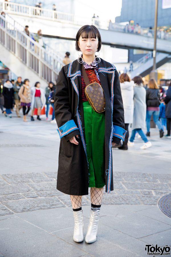 Eclectic Street Fashion w/ M.Y.O.B. Coat, Kenzo Printed Top & GU Silver Boots