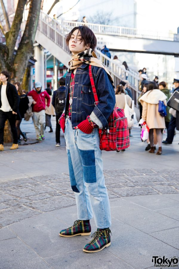 Japanese Model in Mixed Prints and Double Denim