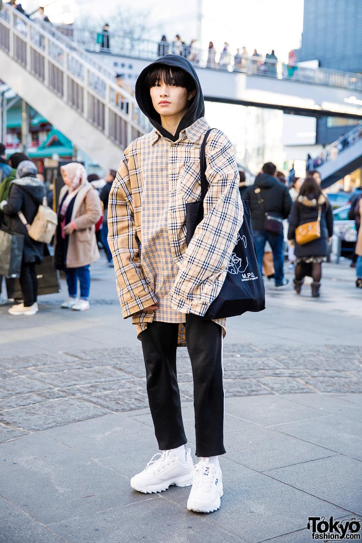 buty skate obuwie różnie Harajuku Guy in Plaid Print Japanese Street Style w/ Ajo by ...